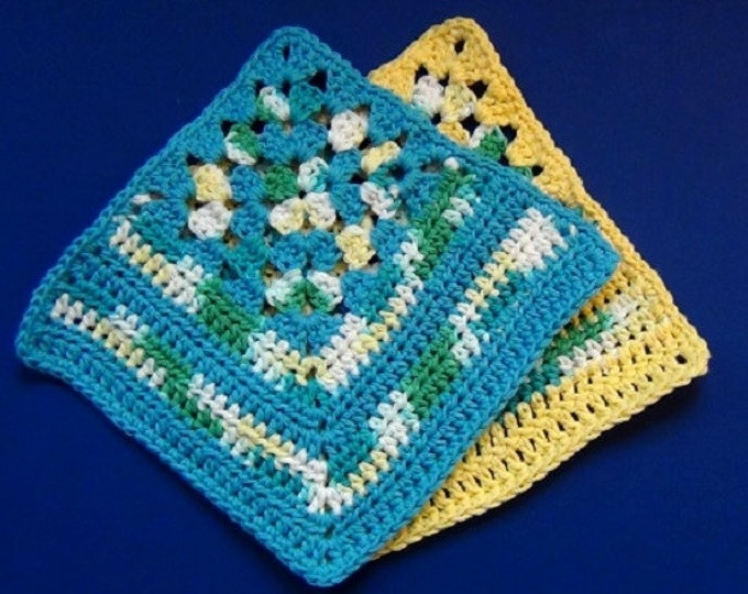 Granny Crochet Dishcloth - Granny Corner Wash Cloth - Set of 2 Blue and Yellow Decorative Cotton Cloths