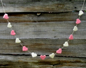 Felt Hearts Garland Pink & White banner Valentines Decor Wedding Garland Home Decor Baby Shower Childrens room