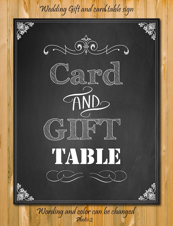 Items similar to card and gift table sign custom wedding for Table 6 gift card
