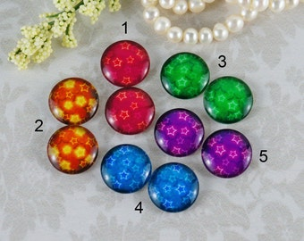 12mm,16mm,20mm Mix Star Handmade photo glass cabochon cabs 12G105