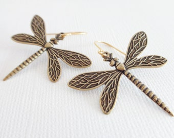 Antiqued Gold Dragonfly Earrings - 14K Gold Dragonfly Earrings, Dragonfly Jewelry, Insect Jewelry, 14K Gold Earrings, Big Earrings, Bohemian