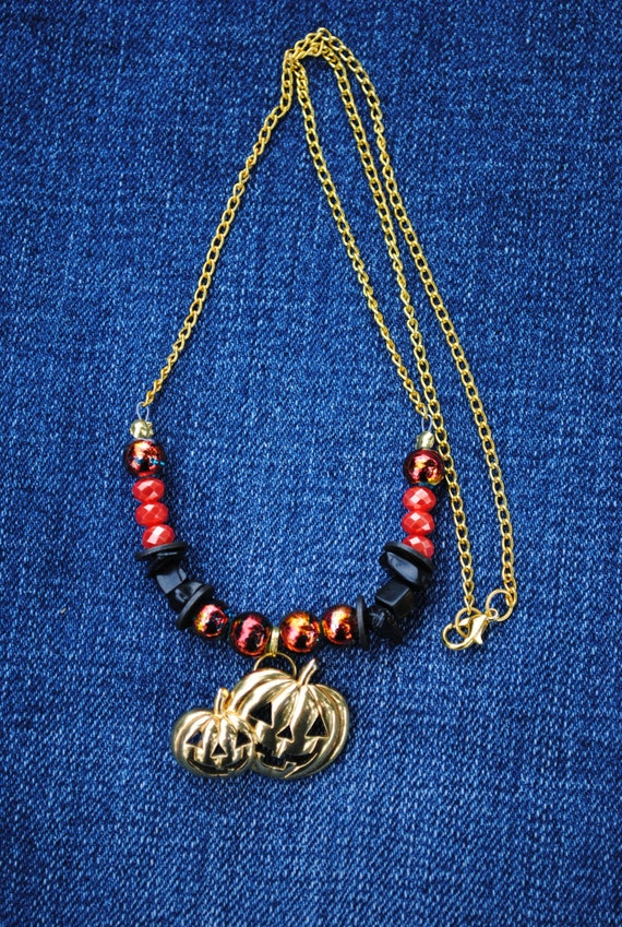 items similar to halloween pumpkin necklace upcycled