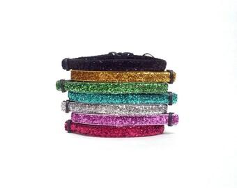 Handmade Breakaway Glitter Cat Collar - Choose from 7 Colors!!