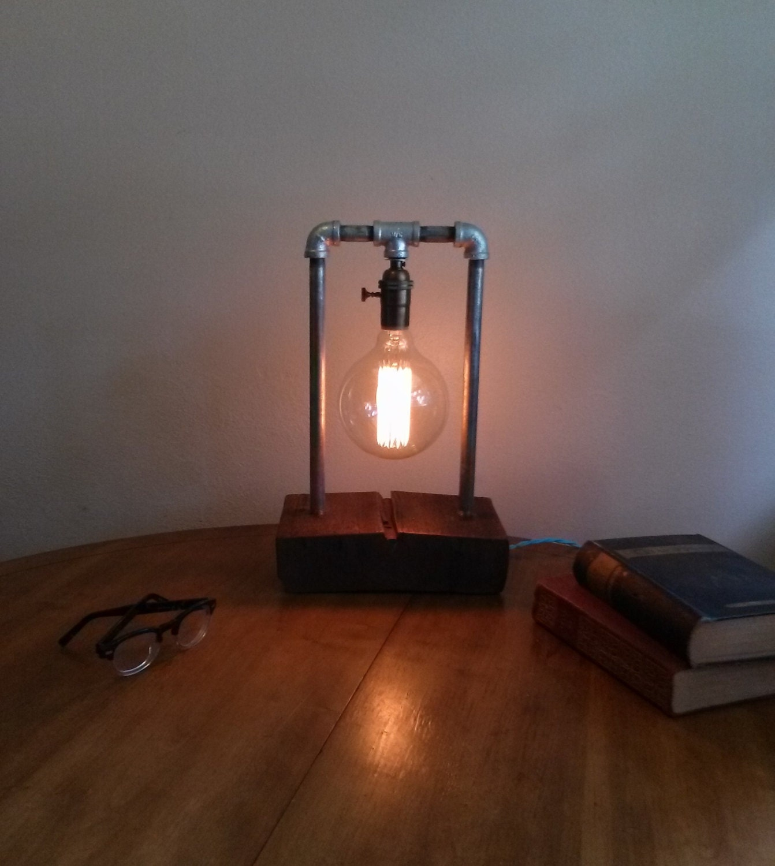 Galvanized Steel Table Lamp Barn Wood By JRusticFurniture
