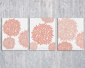 Coral Bedroom Wall Art PRINTABLE, Coral Wall Art, Flower Burst, Coral Art Print, Dahlia Wall Art,Bedroom Decor, 8x10, Peach Pink Coral