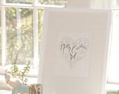 Print - North Carolina Gal - Calligraphy Heart Illustration