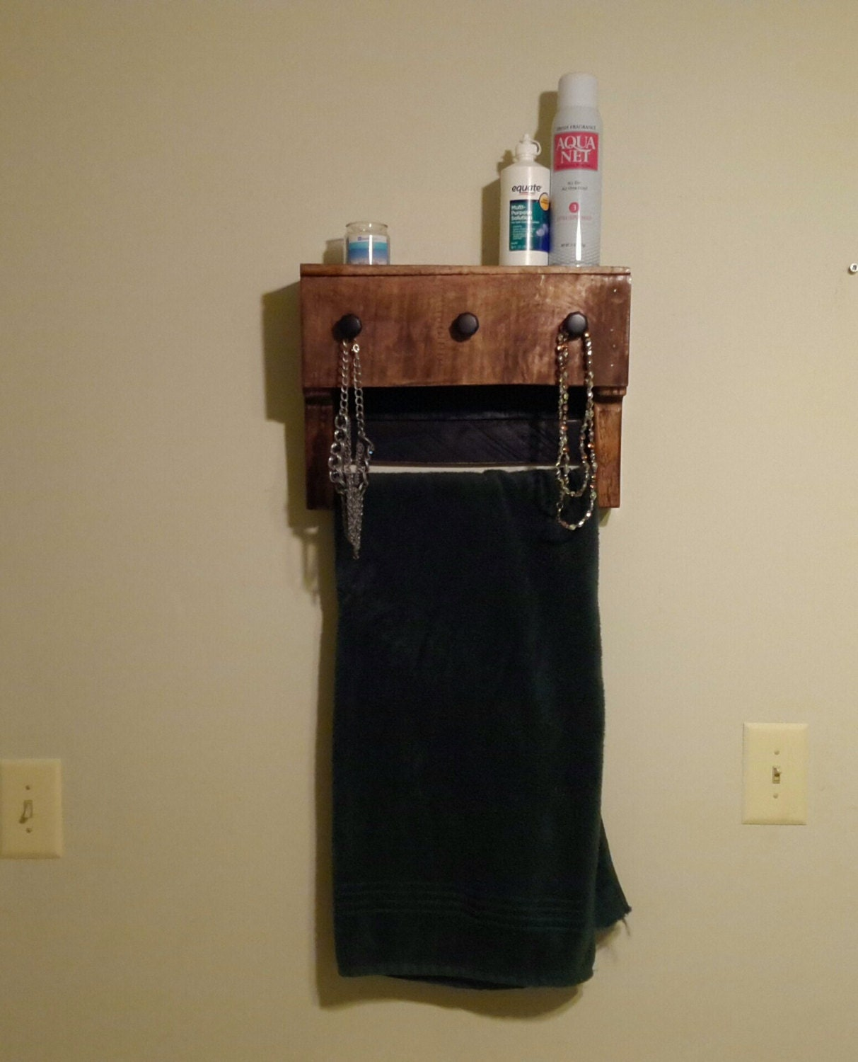 Amazing photo of Reclaimed wood shelf with towel rack bathroom by SheltonWoodworks with #9B3042 color and 1213x1500 pixels