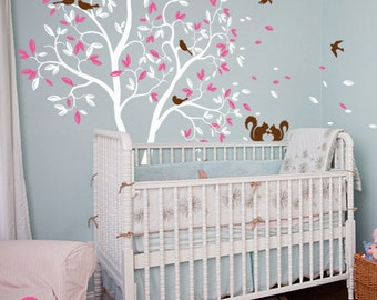 White Tree wall decal Nursery wall mural sticker with cute squirrels and birds whimsical baby room removable vinyl tree wall decor - 050_1