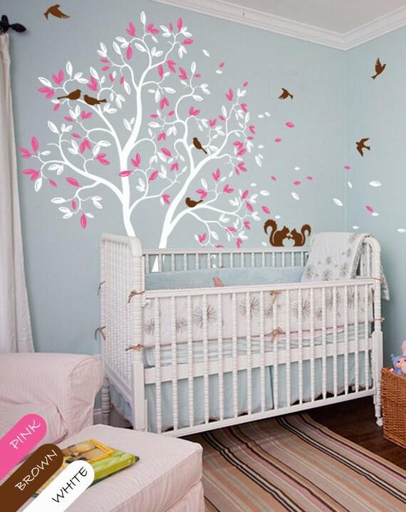arbre blanc autocollant p pini re mur murale sticker mural. Black Bedroom Furniture Sets. Home Design Ideas