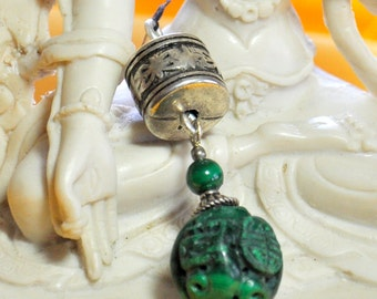 Carved Green Malachite Pendant. Sterling Silver, free US ship