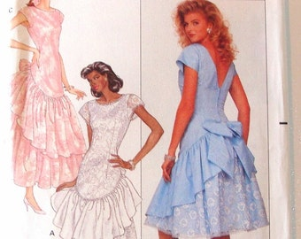Vintage 80's Butterick Fitted Dropped Waist Dress Sewing Pattern #6106 - UNCUT - Sizes 8+10+12 (Bust 31 1/2+32 1/2+34)