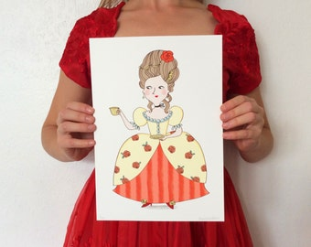 BIRTHDAY Marie ANTOINETTE Giclée print A4 Limited Edition with tea cup