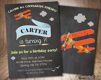 Printable Airplane Invitation, Boy Birthday Invitation, Birthday Invitation Boy Birthday Party Invites,1st, 2nd Birthday invitation boy