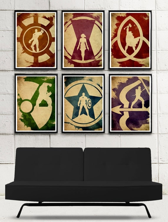 Vintage Superheroes Minimalist Movie Poster Set / 6 Poster