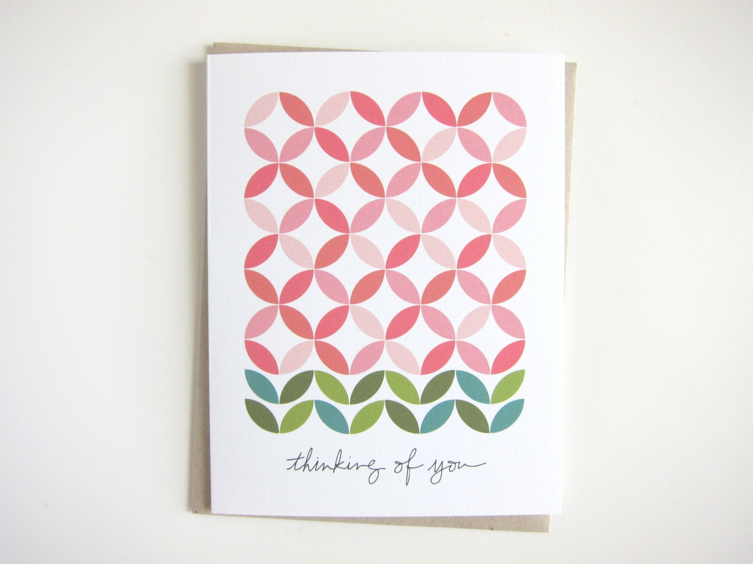 Thinking of You Notecard - Double Wedding Ring Floral Quilt Pattern ...
