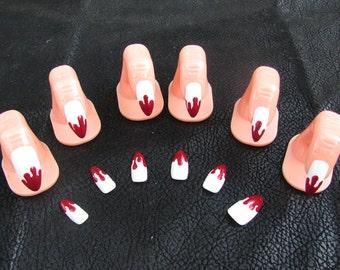 Vampire nails etsy vampire fang blood drip acrylic nail art prinsesfo Choice Image
