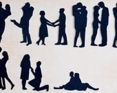 Lovers silhouettes, black and white card, Couples silhouettes, wedding silhouettes, people silhouettes, silhouettes