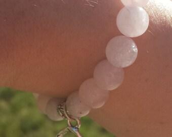 Manifest Miracles: Rose Quartz and Moonstone Fertility Bracelet / fertilty goddess/ IVF Gift/ Infertility Bracelet/ Rose Quartz Bracelet