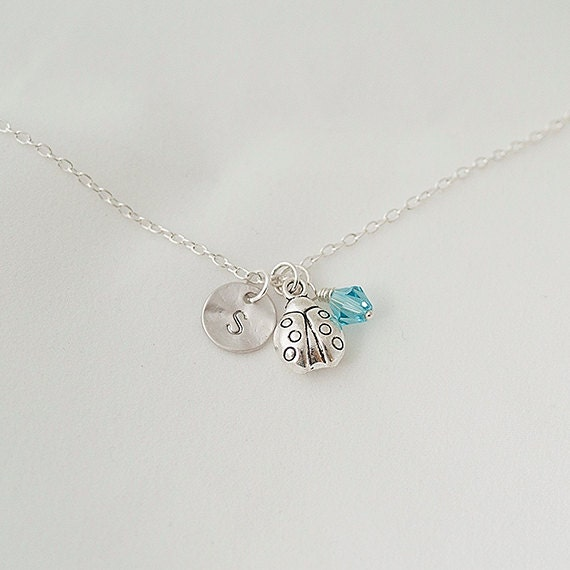 Birthstone Necklace, Personalized Initial Silver Ladybug Nnecklace, Swarovski Crystal Necklace