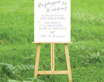 The HAYLEY . Unplugged Wedding Ceremony Printed Sign or PDF . Watercolor No Photos Camera Phone Calligraphy Blush Pink Teal Green Gold Sign