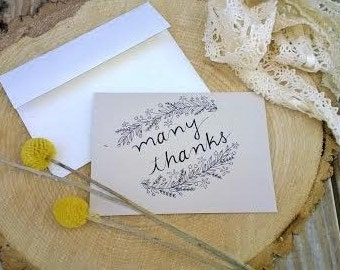Many Thanks 10 Pack of Thank You Cards, Rustic Thank You Card Set, Wedding Thank You Cards