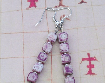 White and Purple Ceramic Square Drop