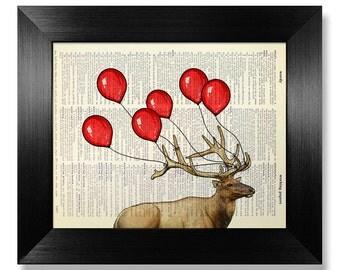 Deer Art, Deer Print, Deer Art Print, Red Balloon Art, Red Balloon Print, Deer Wall Art, Balloon Wall Art, Art, Print, Wall Art, Wall Decor