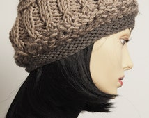 Chunky knit hat, Black Friday, Slouchy light brown cloche, Taupe crochet tam, Slouchy knit beret, Fashion knit hat, Teen girl hat