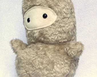 Stuffed Faux Fur Ninja, Soft Stuffed Animal Monster Toy, Furry Grey Plush Ninja Plush CuddleToy, Furry Plushie w/ Safety Eyes Free Shipping!