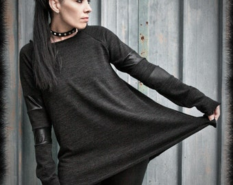 THETA - Sweater Industrial Grunge with Stripes Long Sleeves Black Post Punk Modern Loose