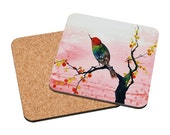Art Coasters Mix & Match - Warm Reflection - hummingbird colorful pink cherry blossoms watercolor painting cottage home decor Oladesign