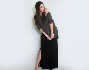 Maxi Skirt • Side Slit Leg • Floor Length Skirts • Tall & Petite Skirts • Ethically made in our USA loft • L | 415 Clothing (L415 No. 101)