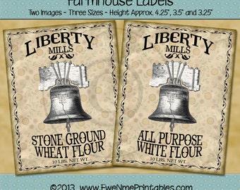 Instant Download - Printable Farmhouse Labels - Liberty Mills - Digital PDF or JPG File
