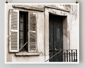 "Paris Photography, ""Black Door"" Paris Print, Large Art Print Fine Art Photography, Old Door Photo, Black Wall Art"