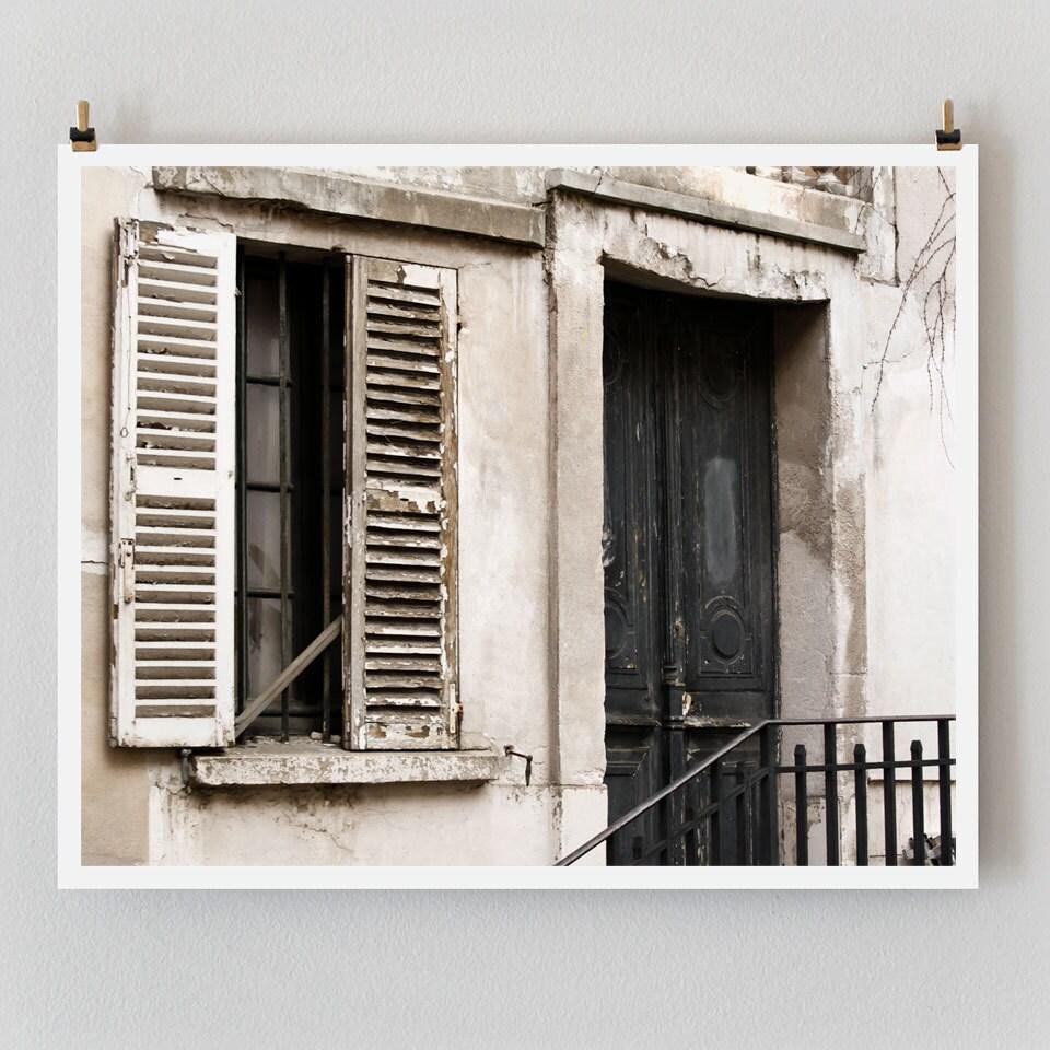"""Paris Photography, """"Black Door"""" Paris Print, Large Art Print Fine Art Photography, Old Door Photo, Black Wall Art"""