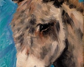 5x7 Burro Donkey oil painting Original art by Joyce Brandon. A friend of Eeyore and Pooh, farm animals, pony and horse. Stretched Canvas