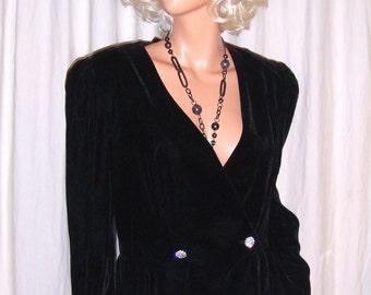 Vintage Stenay Black Velvet Open Back Jacket 13/14
