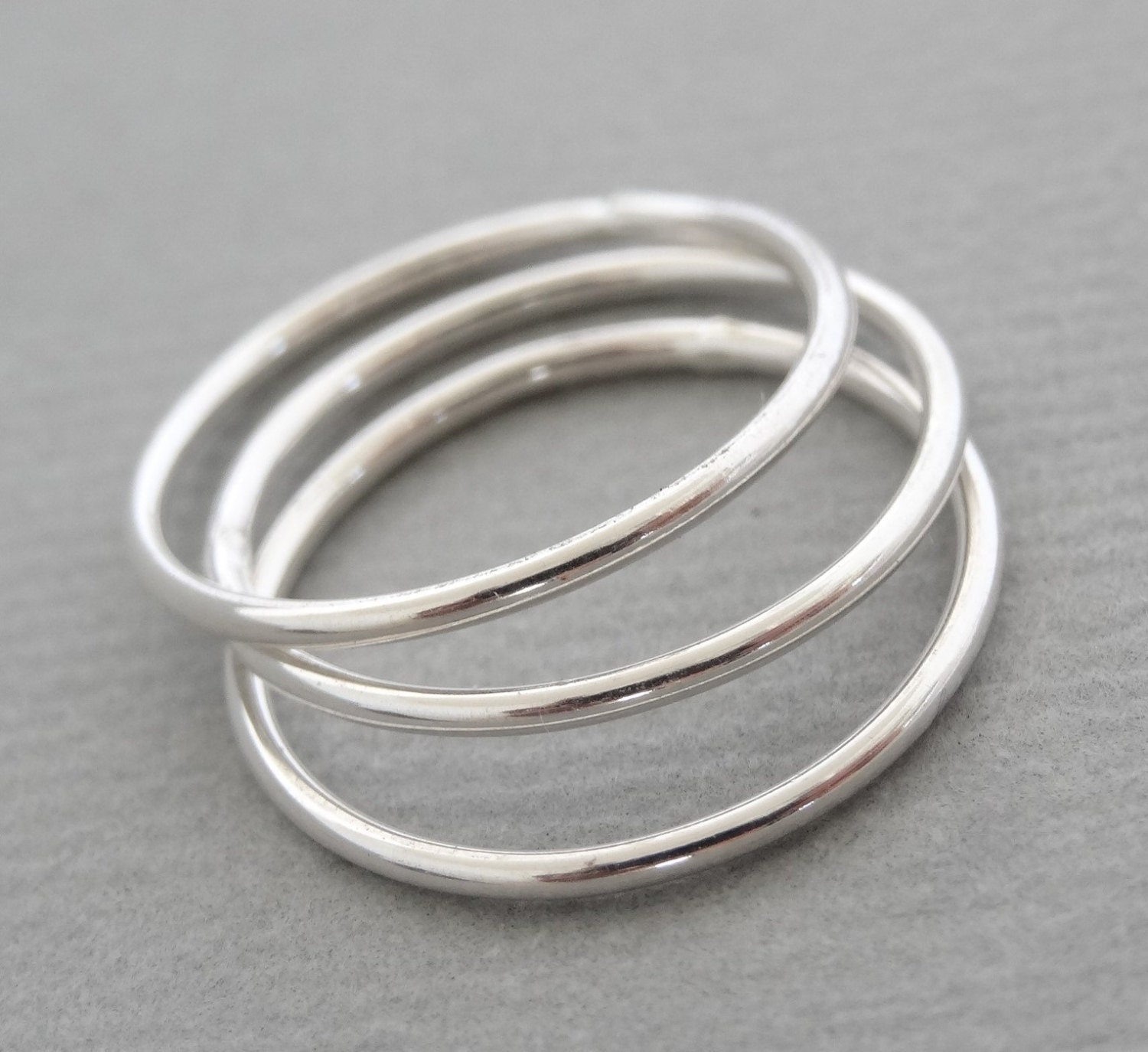 thin rings minimal stacking rings sterling silver smooth