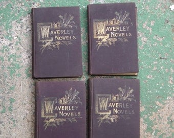 Antique collection of 8 Victorian Waverley Novels Sir Walter Scott Bart Collier Publisher 1890s boho Scottish historical epic book series