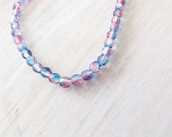 Pink/Blue Bead 4 mm Czech Glass Beads Crystal 100  Beads Necklace Bracelet Ring Beads  Jewelry Supply #144