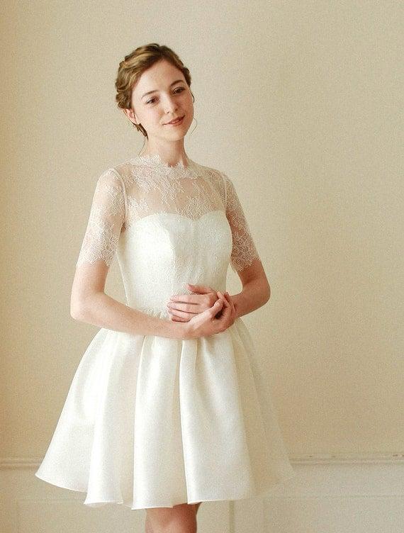 Items similar to wedding bolero bridal lace top wedding for Cover up wedding dress
