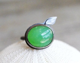 Chrysoprase Sterling Ring - silversmith, fine silver, sterling silver, apple green, oval cabochon, leaf, hand forged, torched, natural gem