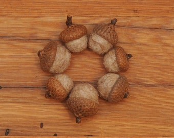 Oatmeal Tan Felted  Acorns,  natural colored ecofriendly wool, also available as ornaments