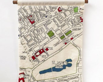 Piccadilly and St James Park Central London Detailed Hand Embroidered Decorative Street Map Wall Hanging, A3 Size.