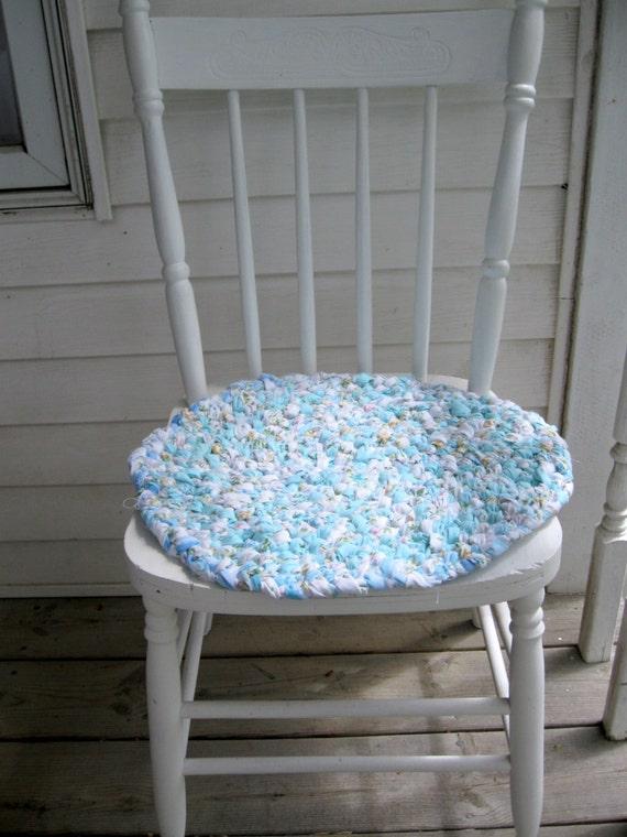 Braided Chair Pad Chair Pad Braided Rag Rug Robin Egg Blue