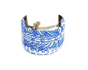 Feather String Cuff Bracelet in White on Blue