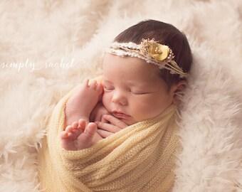 ELISE. Tieback. Headband. Fabric Flower. Yellow. Ivory. Newborn Photography Prop. Yarn.Tolola Design