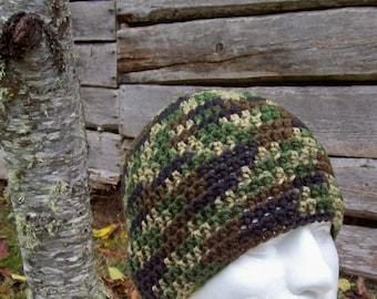 made to order mens hat, boys beanie, crochet hat, beanie, skullcap, dark camouflage, teens, adults, camo, 9371