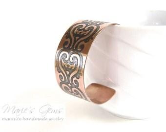 Copper Bracelet, Cuff, Heart Bracelet, Oxidized, Antiqued, Handmade, Waves, Love, Valentine, Polished, 773