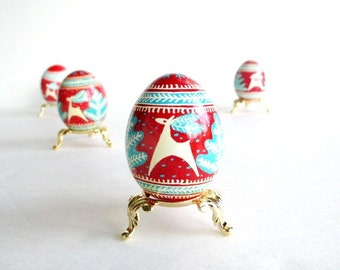 Turquoise and  Red Pysanka with  Christmas Trees ~ batik egg on chicken egg ~ Ukrainian Easter egg ~ hand painted egg art form ~ Pâques